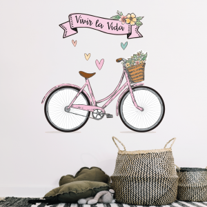 papel adhesivo pared Bici Flores