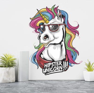 Adhesivos decorativos unicornio hipster