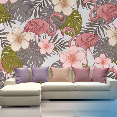 papel mural flamingos