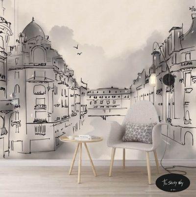 Papel Mural Boceto Arquitectónico