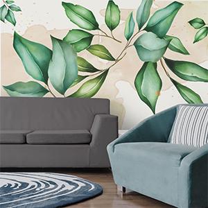 papel de muro hojas pastel