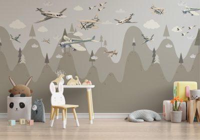 papel para muros aviones