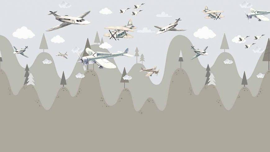 Papel mural con aviones
