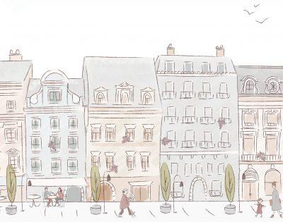 papeles murales edificios dibujo